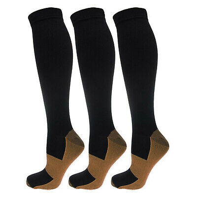 (3 Pairs) Compression Socks Stockings Support Graduated Mens Womens (S-XXL)