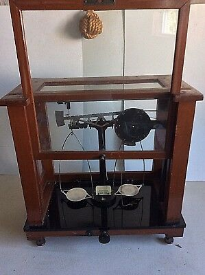 Antique Geo T Walker Wood & Glass Apothecary Scale *Chainomatic Christian Becker