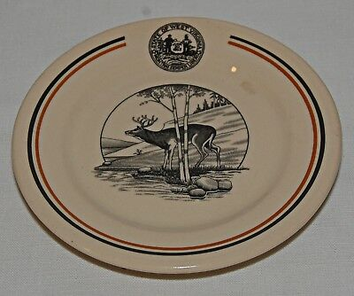 Souvenir West Virginia State Parks Vintage Carr China Elk Plate Grafton W Va