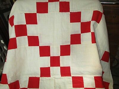 "Antique 1900's Turkey Red & White Hand Pieced/sewn Patchwork Quilt Top 52"" X 72"""