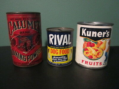 Calumet Baking Powder, Rival Dog Food, Kuners Product Tin Can Coin Chicago Banks