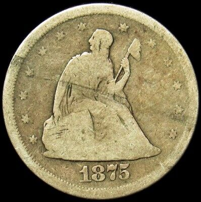 1875-S Seated Liberty Quarter -Very Good- Natural Toned Silver