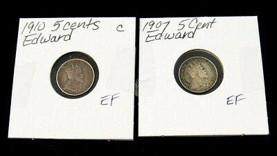 Pair Canada Silver 5 Cents in XF Condition - 1907 & 1910 - Edward VII