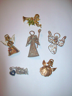 6 Piece Vintage and Modern Angel and Cherub Brooch/Pin Lot - Eisenberg Ice, J.J.