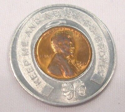 Vintage 1956 Rexall Keep Me and Never Go Broke Encased Good Luck Penny Cent Coin