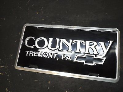 Vintage Country Chevrolet Tremont Pennsylvania  Dealership Plate Pa Schuylkill