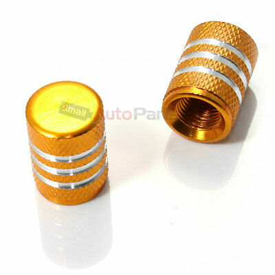 2) Motorcycle Bike Yellow GOLD ALUMINUM tire valve stem CAPS with chrome stripes