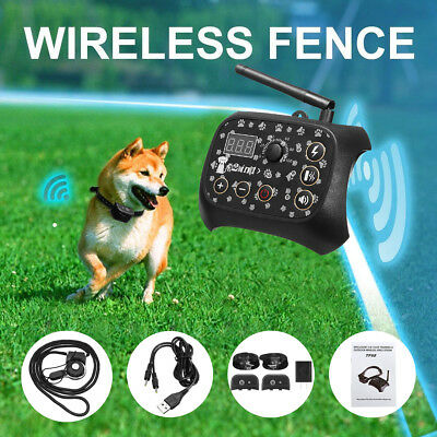 Wireless Dog Fence Training Shock 2Collar Pet Electric Trainer System +2Receiver