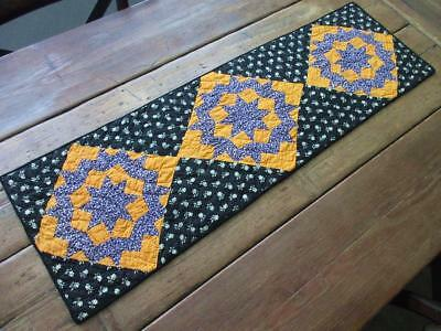 Antique Cheddar Orange + Black Star Table QUILT RUNNER Fall Decorating