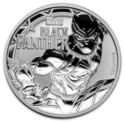 2018 ~ 1~Oz .9999 Silver ~ Black Panther ~ Marvel Comics ~ Tuvalu ~$1~Gem ~$9.99
