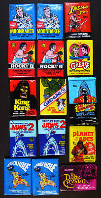 15  Movies Gum Cards: Moonraker, Indiana Jones, Rocky Ii, Grease, Jaws 2, Etc.