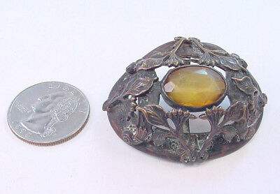Large Antique Hatpin Top -Amber Color Stone -Bronze Brass -Very Ornate Design