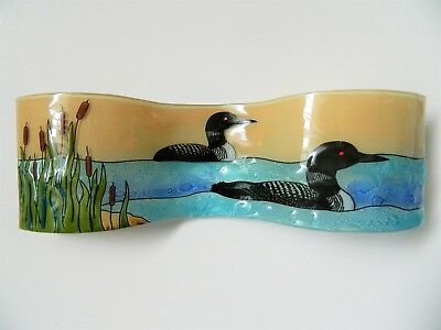 Loon Bird in Marsh Pond Small Wavy Fused Art Glass Made in Ecuador