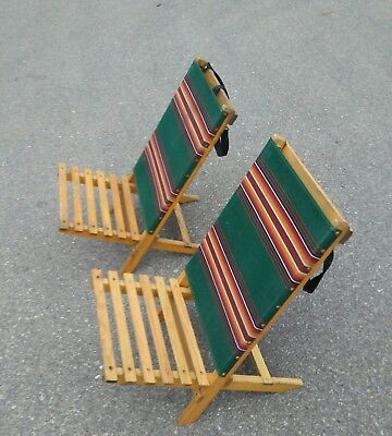 VINTAGE CANVAS WOOD Folding Beach Chairs - $44.99 | PicClick