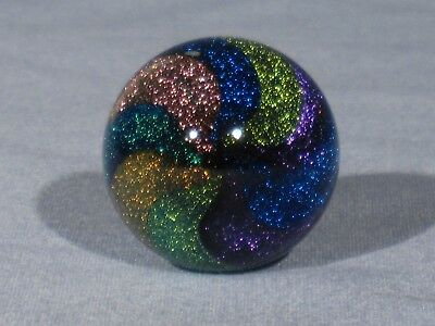 "Marbles: Hand Made Art Glass Alloway Dichroic 6 Color ""Stardust""#318   1.2inch"