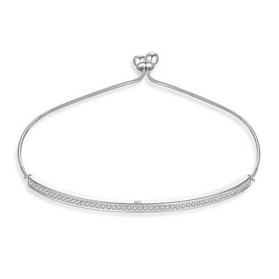 JewelryPalace Cubic Zirconia Channel Adjustable 925 Sterling Silver Bracelet