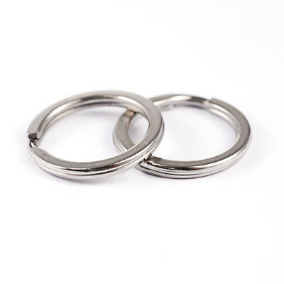 Stainless Steel Steel Keyring Flat Split Rings Flat Key Rings 20 mm 25 mm 30 mm