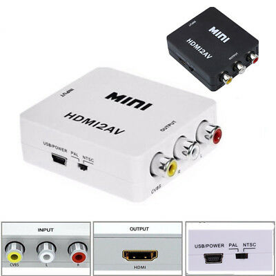 HDMI to 3RCA Adapter AV CVBS Video Converter Mini Composite upto 1080p connector