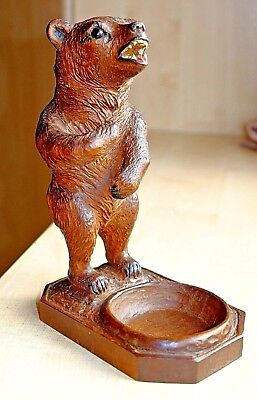 An Antique Hand Carved Large German Black Forest Wooden Bear Ashtray Figure