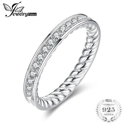 JewelryPalace Cubic Zirconia Channel Wedding Band 925 Sterling Silver Ring
