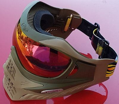 Paintball Thermal Maske   VForce Grill   Swamp Olive Drab Tan  rotes HDR verbaut