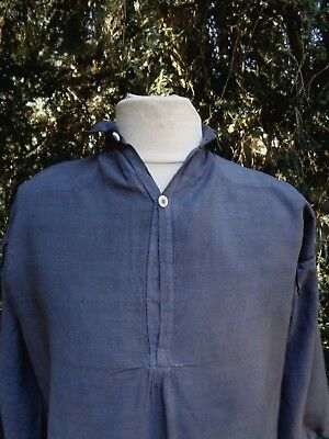ANTIQUE FRENCH LINEN SHIRT TUNIC HAND DYED DARK GRAY WORK SMOCK 19th
