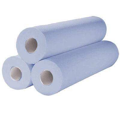 "Vinsani 20"" 40m Hygiene Medical Beauty Salon Massage Couch Roll - Blue 2 Rolls"