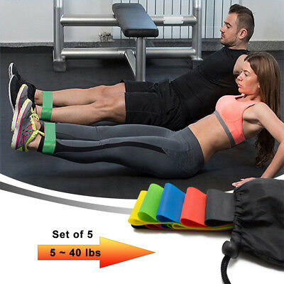 Set of 5 YOGA Heavy Duty Resistance Band Loop Power GYM Workout Exercise Fitness