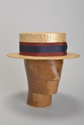 Briitsh Army Officers' Mid C20th s7 1/8 Straw Boater Hat. Ref IDIJ