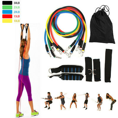 11 Pack Resistance Band Set Yoga Pilates Abs Exercise Fitness Tube Workout Bands