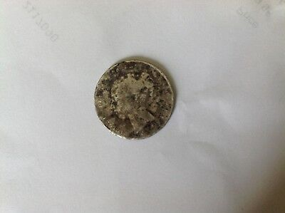 old silver queen victoria 1 rupee coin Bit eroded and can't clearly read writing