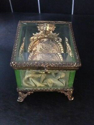 Antique uranium glass gilt metal pocket watch holder stand case