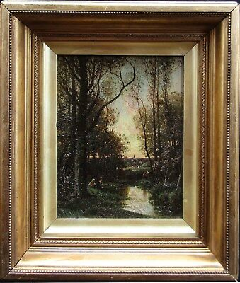 LISTED Charles Appel Figures by Stream Antique ORIGINAL Oil Painting NO RESERVE