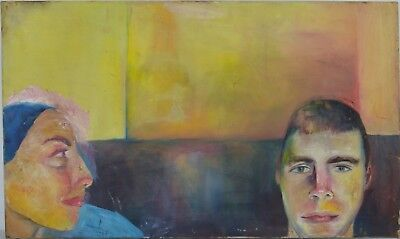Continental School. (20th century) - Two Heads - Oil On Canvas.