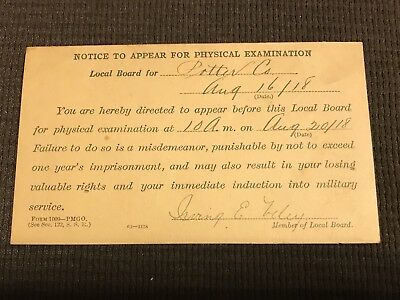 Great WW1 US Soldier Draft Card