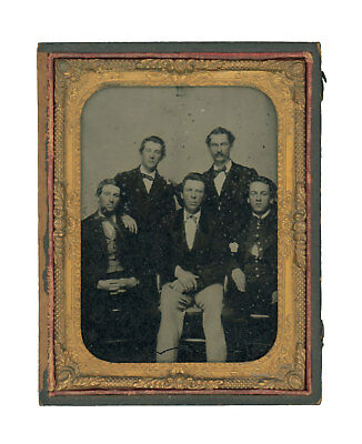1/4 Plate Civil War Ambrotype of Young Union Soldier with Friends - Teacher?