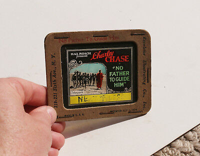 """1925 """"No Farther To Guide Him"""" Charley Chase Hal Roach  MOVIE AD glass slide"""