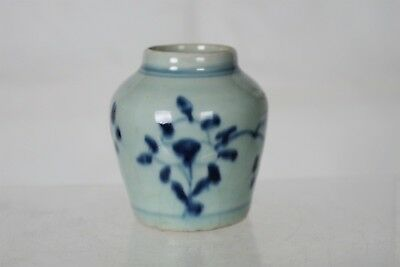 Beautiful Antique Chinese Blue/White Hand-painted Porcelain Pot