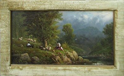 LISTED Georg Geyer Shepherd w/ Cows & Sheep on Hill OLD Oil Painting NO RESERVE