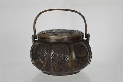 Fantastic Antique Chinese Bronze Intricately Crafted Hand Warmer - with mark