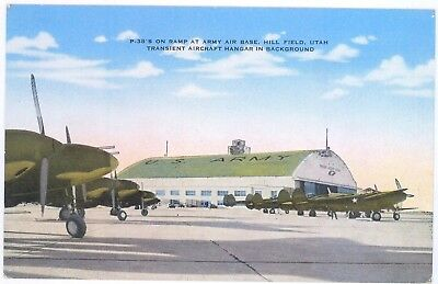 OGDEN, UTAH ~ Hill Field Army Air Base - 1940s. P38's on field & hangar