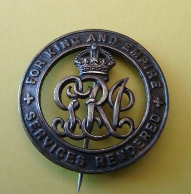 WWI FOR KING AND EMPIRE SERVICES RENDERED BADGE No 432866
