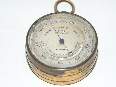 GREAT WORKING ANTIQUE 1800's ROSS LONDON POCKET BAROMETER ALTIMETER THERMOMETER