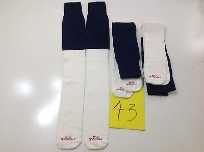 """Lot of 3 Vintage Reebok F-A Tube Socks 29"""" from top to toe White and Blue NEW"""