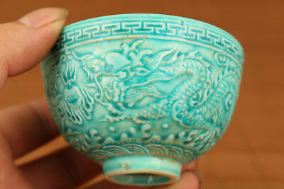 Rare 20Th Antique Chinese Old Green Porcelain Hand Relief Dragon Statue Bowl