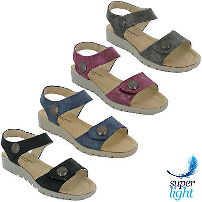 Cushion Walk Womens Sandals Wedge Lightweight Ankle Strap Soft Footbed Open Toe