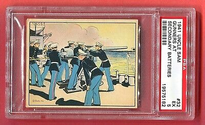 1941 Gum, Inc. Uncle Sam Card #32 Gunners at Secondary Batteries PSA 5 EX Pop 4