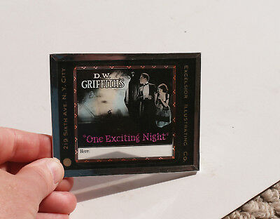 """1922 """"One Exciting Night"""" DW Griffith MOVIE AD glass slide"""