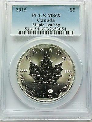 PCGS 2015 Canada Silver MAPLE LEAF/Ag $5 Coin MS69 1oz .9999 Ag Pure TONED/Spots