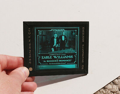 """1919 """"A Rogues Romance"""" Earle Williams MOVIE AD glass slide"""